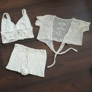 Handmade knit festival shorts and tops